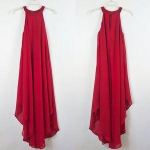 Paper Doll Red Halter Chiffon Drape Dress